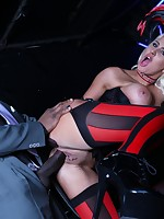 Naughty corseted blonde just loves big black dicks