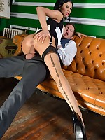 Busty brunnete maid getting naughty with her boss