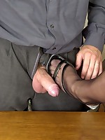 Secretary having her stocking feet licked and getting fucked